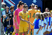 San Diego, CA - Sunday July 30, 2017: Steph Catley during a 2017 Tournament of Nations match between the women's national teams of the Australia (AUS) and Japan (JAP) at Qualcomm Stadium.