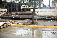 Debris leaves a flood line after the storm surge flooding from Hurricane Ike, Galveston Texas