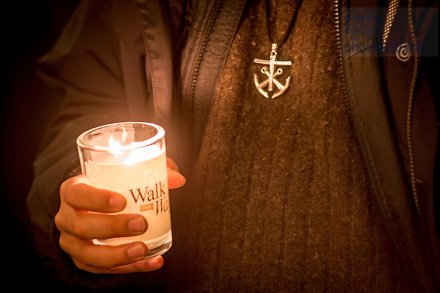Jan. 18, 2016; Midnight prayer service in honor of the Rev. Martin Luther King Jr. holiday.  The service was the inaugural event of a campus-wide Walk the Walk Week observance, during which students, faculty and staff have been asked to reflect on the values central to Martin Luther King Jr.'s legacy and the mission of Notre Dame. (Photo by Matt Cashore/University of Notre Dame)