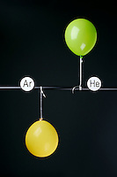 HELIUM AND ARGON FILLED BALLOONS<br /> (Variations Available)<br /> The Two Balloons Are Filled To The Same Volume<br /> Argon (yellow balloon) is slightly denser than oxygen and does not rise. Helium (green balloon) is less dense than oxygen and therefore rises.