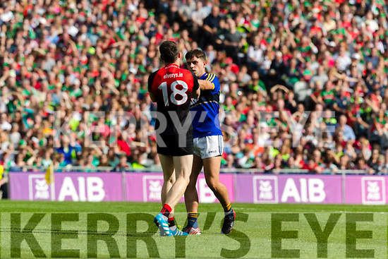 Jack Savage Kerry in action against Paddy Durkin Mayo in the All Ireland Semi Final Replay in Croke Park on Saturday.