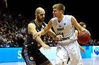 GRONINGEN - Basketbal, Donar - Cluj ,  Europe League, seizoen 2017-2018, 24-01-2018,  Donar speler Evan Bruinsma met Cluj  speler  Camil Berculescu