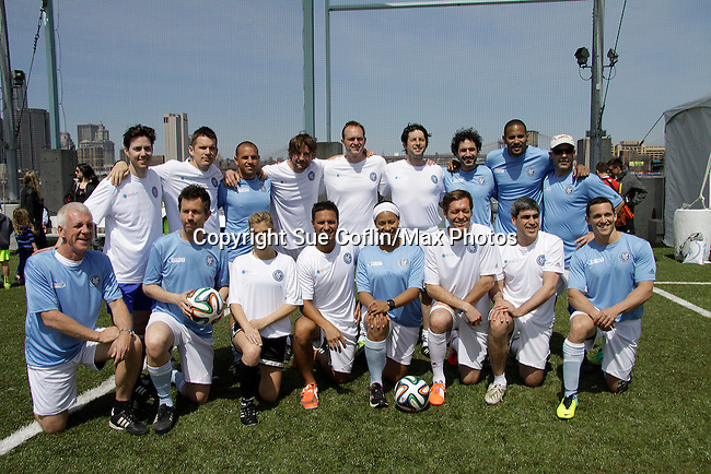 Celebs - One Life To Live and One Tree Hill Brett Claywell, Survivor Winner Ethan Zohn (founder of Grassroots), actor Ethan Hawke and wife Ryan and 1 of 2 daughters Indiana, actor Gale Harold and more participated in NYFEST - a celebrity soccer tournament lasting all day on April 19, 2014 at Pier 5, Brooklyn Bridge Park, Brooklyn, New York.  (Photo by Sue Coflin/Max Photos)