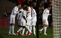Wednesday 09 February 2013<br /> Pictured: Michu of Swansea (L) celebrating his goal with team mates<br /> Re: Barclay's Premier League, Swansea City FC v Queen's Park Rangers at the Liberty Stadium, south Wales.