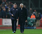 Assistant manager Craig Shakespeare and Claudio Ranieri manager of Leicester City during the English Premier League match at the Bet 365 Stadium, Stoke on Trent. Picture date: December 17th, 2016. Pic Simon Bellis/Sportimage