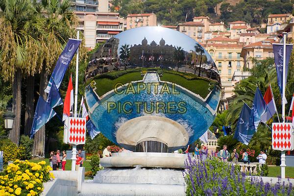 Reflection of Monte Carlo Casino in mirror above fountain, Place Du Casino, Monte Carlo, Monaco, France