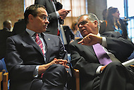 January 11, 2013  (Washington, DC)  D.C. Mayor Vincent Gray and U.S. Transportation Secretary Ray LaHood (right) chat after a news conference announcing $7 million in grants for transit workforce development. (Photo by Don Baxter/Media Images International)