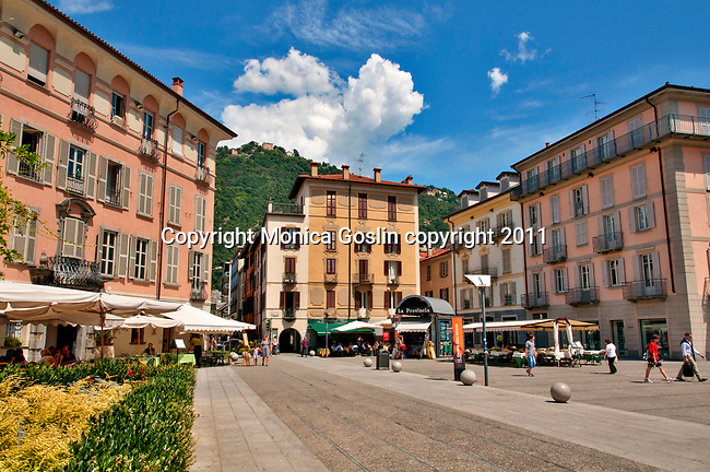 Plaza in downtown Como on Lake Como, Italy where you can shop and eat at side walk cafes