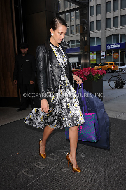 WWW.ACEPIXS.COM . . . . . .May 10, 2012...New York City....Jessica Alba leaving her downtown hotel on May 10, 2012 in New York City. ....Please byline: KRISTIN CALLAHAN - WWW.ACEPIXS.COM.. . . . . . ..Ace Pictures, Inc: ..tel: (212) 243 8787 or (646) 769 0430..e-mail: info@acepixs.com..web: http://www.acepixs.com .
