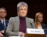 """United States Secretary of the Air Force Heather Wilson testifies before the US Senate Committee on Armed Services during a hearing on """"Chain of Command's Accountability to Provide Safe Military Housing and Other Building Infrastructure to Service members and Their Families"""" on Capitol Hill in Washington, DC on Thursday, March 7, 2019.<br /> Credit: Ron Sachs / CNP/AdMedia"""