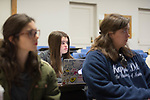 Students in Dr. Breese Quinn's physics class buckle down for two weeks of wintercession classes.  Photo by Kevin Bain/University Communications Photography