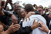 United States President Barack Obama hugs a woman in the crowd after addressing the Labor Day celebration in Detroit, Michigan, September 5, 2011. .Mandatory Credit: Pete Souza - White House via CNP
