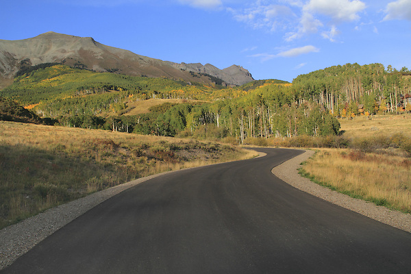 Highway in the San Juan Mountains, autumn, Colorado.