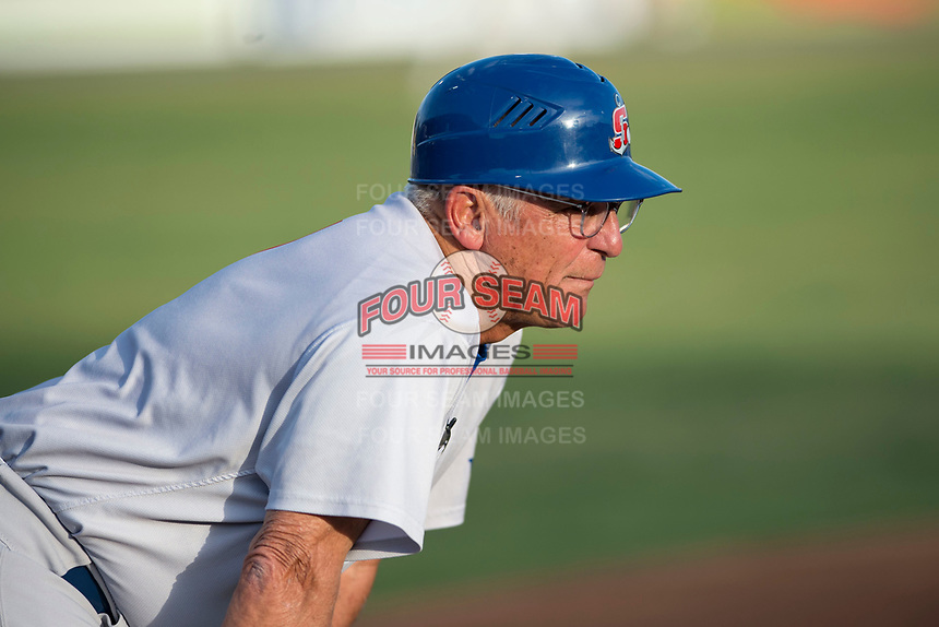 Stockton Ports manager Rick Magnante (7) coaches third base during a California League game against the Visalia Rawhide at Visalia Recreation Ballpark on May 8, 2018 in Visalia, California. Stockton defeated Visalia 6-2. (Zachary Lucy/Four Seam Images)