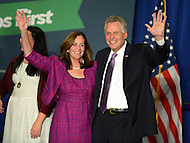 November 5, 2013  (Tysons Corner, Virginia)  Democrat Terry McAuliffe celebrates his election to the Virginia Governor's office with his wife, Dorothy, November 5, 2013.  (Photo by Don Baxter/Media Images International)