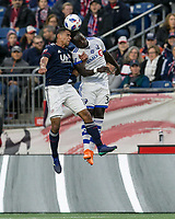 Foxborough, Massachusetts - October 28, 2018: First half action. In a Major League Soccer (MLS) match, New England Revolution (blue/white) vs Montreal Impact (white), at Gillette Stadium.