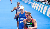 15 AUG 2009 - LONDON, GBR - Helen Jenkins takes third place behind winner Nicola Spirig and Swedans Lisa Norden at the ITU World Championship Series Womens Triathlon.(PHOTO (C) NIGEL FARROW)