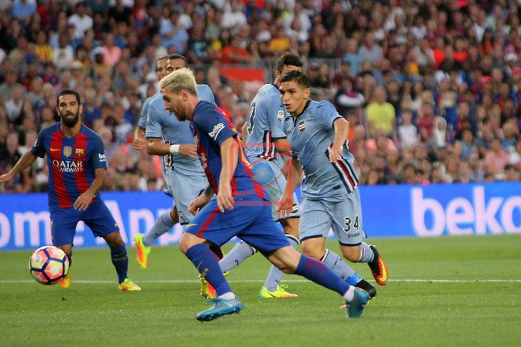 League Santander 2016/2017.<br /> 51e Trofeu Joan Gamper.<br /> FC Barcelona vs UC Sampdoria: 3-2.<br /> Lionel Messi.