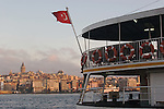 Istanbul, Turkey, Eminonu ferry dock, Golden Horn, Galata Tower, Bosphorus, Passenger ferry, Turkish flag,