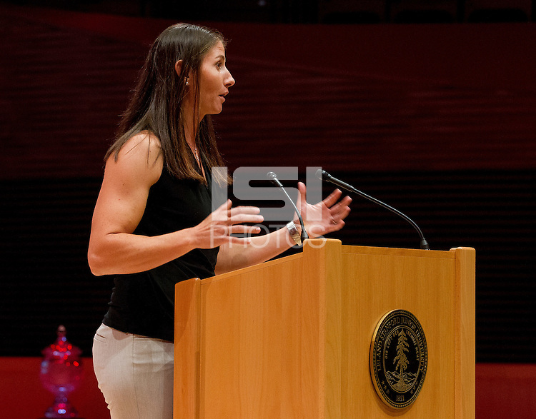 STANFORD, CA - OCTOBER 16, 2015—Dana Sorensen a inductee gives a speech at the 2015 Stanford Athletics Hall of Fame Induction Ceremony at the Bing Concert Hall .