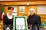 Mayor of Tralee Cllr: Norma Foley stands with Fr Pat Ahern at the Civic Award ceremony for Fr Pat for his outstanding contribution to Kerry and was nominated for the award by the Mayor of Tralee.