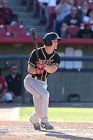 Derek Jones # 28 of the Modesto Nuts bats against the High Desert Mavericks at Heritage Field on June 29, 2014 in Adelanto, California. High Desert defeated Modesto, 6-1. (Larry Goren/Four Seam Images)