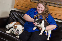 Courtney Brown, CVM class of 2015 student, with patient Mitsy and with Champ.