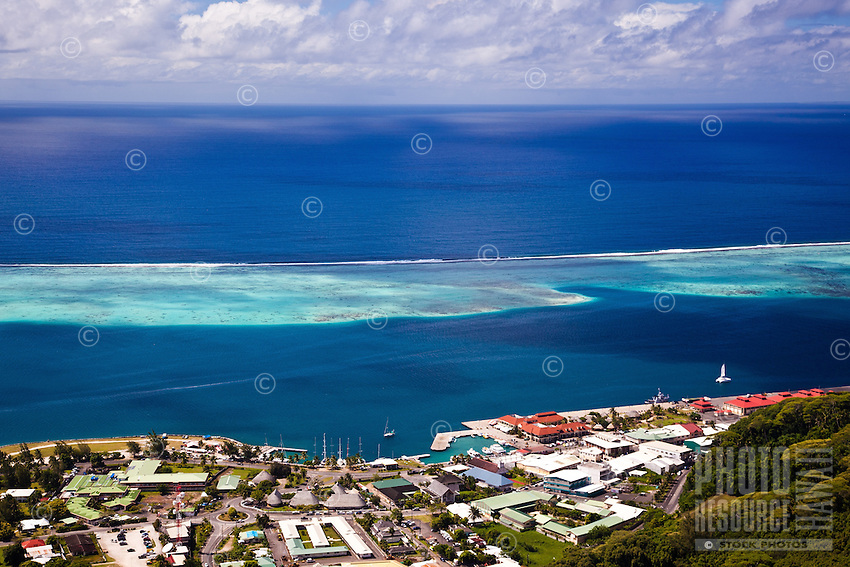 View of Uturoa Harbor, pass, and surrounding reefs from Raiatea island
