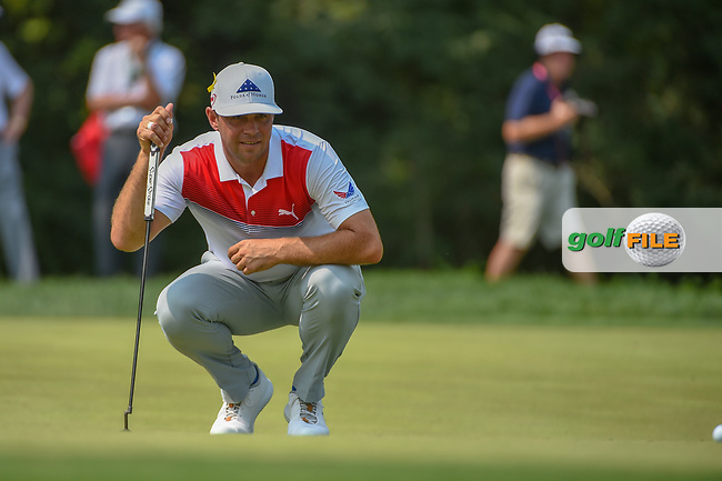 Gary Woodland  (USA) lines up his putt on 9 during 4th round of the 100th PGA Championship at Bellerive Country Club, St. Louis, Missouri. 8/12/2018.<br /> Picture: Golffile | Ken Murray<br /> <br /> All photo usage must carry mandatory copyright credit (© Golffile | Ken Murray)