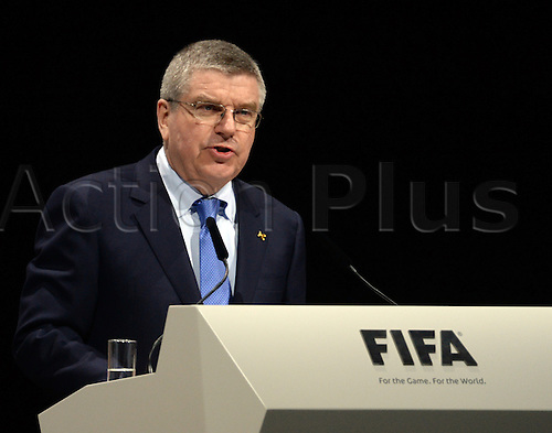 26.02.2016. Zurich, Switzerland. President of the International Olympic Commitee IOC , German Thomas Bach, adresses the audience during the Extraordinary FIFA Congress 2016 at the Hallenstadion in Zurich, Switzerland, 26 February 2016. The Extraordinary FIFA Congress is being held in order to vote on the proposals for amendments to the FIFA Statutes and choose the new FIFA President.