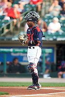 Rochester Red Wings catcher Carlos Paulino (20) during a game against the Lehigh Valley IronPigs on July 4, 2015 at Frontier Field in Rochester, New York.  Lehigh Valley defeated Rochester 4-3.  (Mike Janes/Four Seam Images)