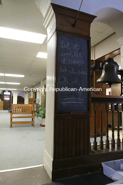 TORRINGTON, CT - 25 January, 2011 - 012511MO01 - A blackboard had been put to use Tuesday in the Torrington schools central office. Jim Moore Republican-American.