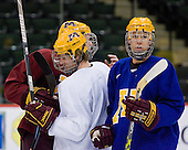 Ryan Stoa (Minnesota 29), Patrick White (Minnesota 7) and Drew Fisher (Minnesota 25) take part in the Gophers' morning skate at the Xcel Energy Center in St. Paul, Minnesota, on Friday, October 12, 2007, during the Ice Breaker Invitational.