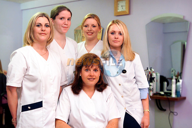 Shauna Fagan, Orla McGuirk, Trisha Fitzpatrick, Reshenda Maguire, beautician and Annette Tomkins, staff in Precision Hair Studio, Mary Street.Picture: Paul Mohan/Newsfile