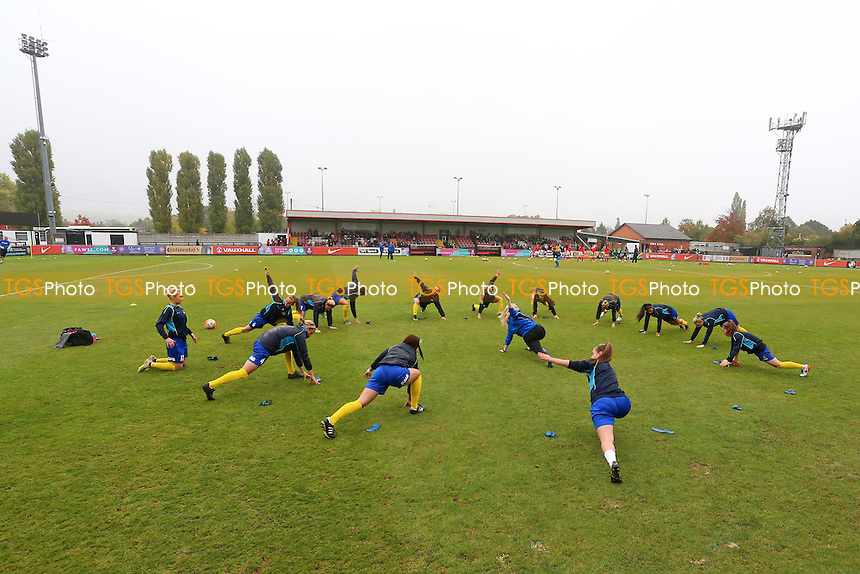 Doncaster players warm up during Arsenal Ladies vs Doncaster Rovers Belles, FA Women's Super League FA WSL1 Football at Meadow Park, Boreham Wood FC on 30th October 2016