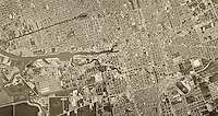 historical aerial photograph Stockton, California, 1967