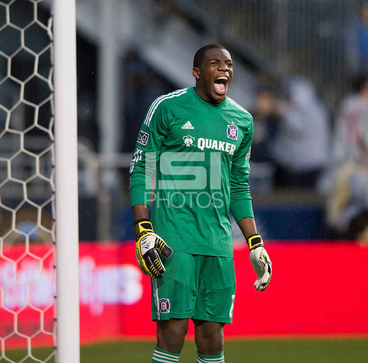Sean Johnson (25) of the Chicago Fire yells to his team during a Major League Soccer match at PPL Park in Chester, PA.  Philadelphia defeated Chicago, 1-0.