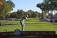 Justin Rose (Team Europe) on the 13th tee during Saturday afternoon Fourball at the Ryder Cup, Hazeltine National Golf Club, Chaska, Minnesota, USA.  01/10/2016<br /> Picture: Golffile | Fran Caffrey<br /> <br /> <br /> All photo usage must carry mandatory copyright credit (&copy; Golffile | Fran Caffrey)
