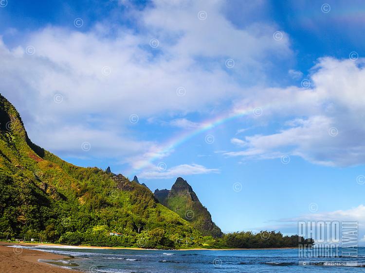 A rainbow over Mt. Makana, also called Makana Mountain or Bali Hai, northern Kaua'i.