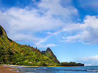 A rainbow over Mt. Makana, also called Makana Mountain or Bali Hai, northern Kaua'i.