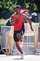 Tyler Webb '20, who has been ranked in the top 10 nationally this year in the 100m, finished second in the event with a seasonal best of 10.69, but lost to SCIAC meet record holder Luke Bohlinger of Redlands who ran 10.62.<br /> The Occidental College men's and women's track and field teams compete in the 2019 Southern California Intercollegiate Athletic Conference (SCIAC) Track and Field Championships at the Claremont-Mudd-Scripps Burns Track Complex in Claremont, Calif. on Saturday, April 27, 2019.<br /> After the two-day SCIAC Championships CMS scored 211.50 points, followed by Pomona-Pitzer (171.50), Redlands (114), Occidental (92.50), Whittier (57.50), La Verne (54), Cal Lutheran (48), Chapman (23) and Caltech (4). <br /> <br /> (Photo by Eddie Ruvalcaba, Image of Sport)