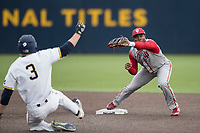 Indiana Hoosiers shortstop Jeremy Houston (1) records an out at second base as Miles Lewis of the Michigan Wolverines begins his slide during the NCAA baseball game on April 21, 2017 at Ray Fisher Stadium in Ann Arbor, Michigan. Indiana defeated Michigan 1-0. (Andrew Woolley/Four Seam Images)