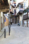 Traditional houses architecture narrow street, Garganta la Olla, La Vera, Extremadura, Spain