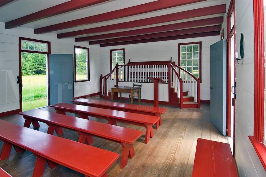 Reconstruction of the Cherokee Nation Supreme Court building, originally built in 1829 on the grounds of New Echota, Georgia.  First floor interior room of the Cherokee Nation Supreme Court building, on the grounds of New Echota, Georgia.  Constituted in 1822, the court met annually and had three judges, which heard 246 cases, from 18223-1835.  Also used as a church and school, when court was not in session.