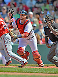 10 June 2012: Boston Red Sox catcher Jarrod Saltalamacchia in action against the Washington Nationals at Fenway Park in Boston, MA. The Nationals defeated the Red Sox 4-3 to sweep their 3-game interleague series. Mandatory Credit: Ed Wolfstein Photo