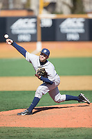 Georgetown Hoyas relief pitcher David Ellingson (5) delivers a pitch to the plate against the Bucknell Bison at Wake Forest Baseball Park on February 14, 2015 in Winston-Salem, North Carolina.  The Hoyas defeated the Bison 8-5.  (Brian Westerholt/Four Seam Images)