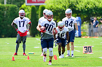 June 13, 2017: New England Patriots wide receiver Danny Amendola (80) runs with the ball at the New England Patriots organized team activity held on the practice field at Gillette Stadium, in Foxborough, Massachusetts. Eric Canha/CSM