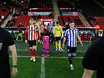 Reece York of Sheffield Utd and Alex Hunt of Sheffield Wednesday lead out the teams during the Professional Development League match at Bramall Lane, Sheffield. Picture date: 26th November 2019. Picture credit should read: Simon Bellis/Sportimage