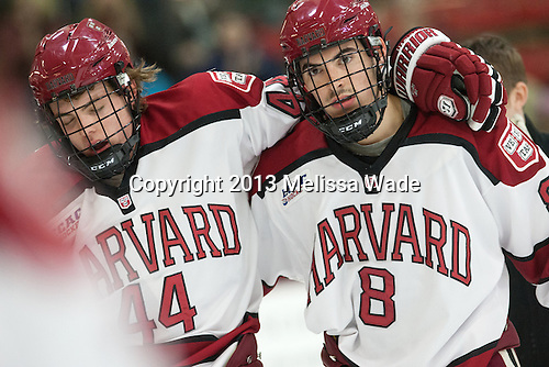 Max Everson (Harvard - 44), Patrick McNally (Harvard - 8) - The visiting Boston College Eagles defeated the Harvard University Crimson 5-1 on Wednesday, November 20, 2013, at Bright-Landry Hockey Center in Cambridge, Massachusetts.