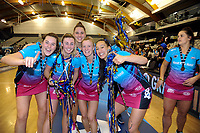 Steel players celebrate winning the ANZ Premiership netball grand final between the Central Pulse and Southern Steel at Arena Manawatu in Palmerston North, New Zealand on Sunday, 12 August 2018. Photo: Dave Lintott / lintottphoto.co.nz